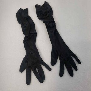 Icing Womens Evening Gloves Black Ruched Elbow